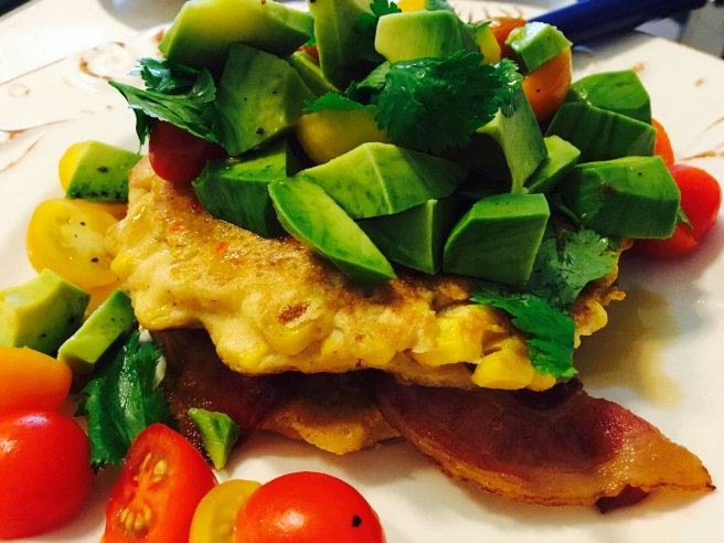 avacado-corn-fritters-bacon-brunch